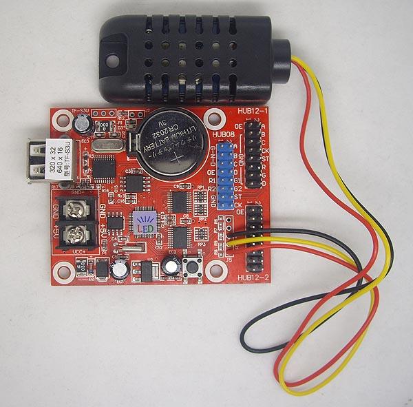 炫蓝光led控制卡温度模块及温湿度模块接线图